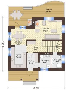 Проект дома КД - 135_Планировка 1 этаж
