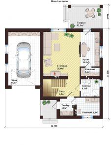 Проект дома КД - 136_Планировка 1 этажа