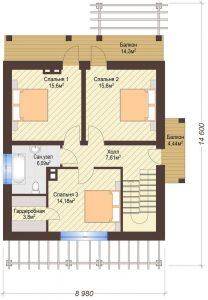 Проект дома КД - 172_Планировка 2 этаж