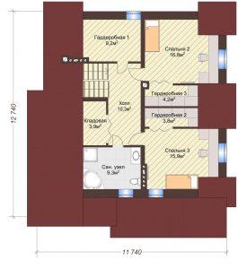 Проект дома КД - 178_Планировка 2 этаж