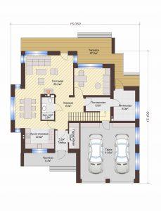 Проект дома КД - 239_Планировка 1 этаж