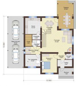 Проект дома КД - 284_Планировка 1 этажа