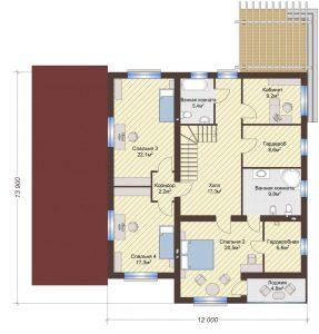 Проект дома КД - 284_Планировка 2 этажа
