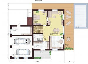 Проект дома КД - 364_ Планировка 1 этажа