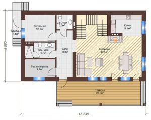 Проект дома КД - 192-1_Планировка 1 этаж