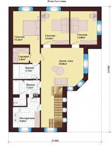 Проект дома КД - 202_Планировка 2 этажа
