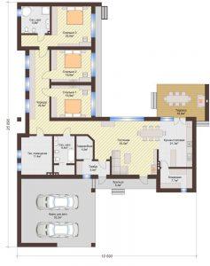 Проект дома КД - 207_Планировка 1 этажа (одноэтажный дом)