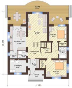 Проект дома КД - 209_Планировка 1 этаж