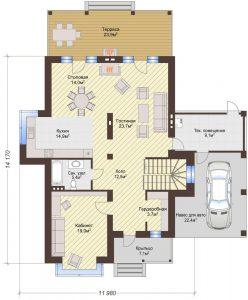 Проект дома КД - 217_Планировка 1 этаж