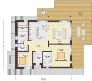 Проект дома КД - 219_Планировка 1 этаж (одноэтажный дом)