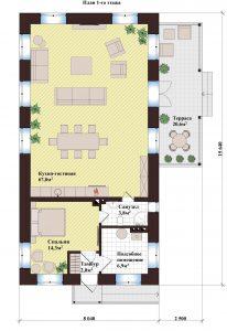 Проект дома КД - 108_Планировка 1 этажа