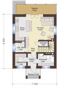 Проект дома КД - 111_Планировка 1 этаж