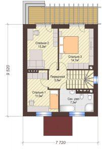 Проект дома КД - 111_Планировка 2 этаж