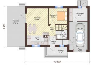 Проект дома КД - 127_Планировка 1 этаж