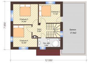 Проект дома КД - 127_Планировка 2 этаж