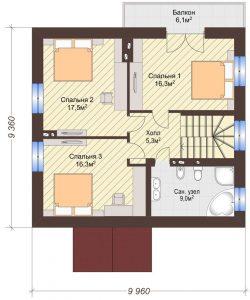 Проект дома КД - 135_Планировка 2 этаж