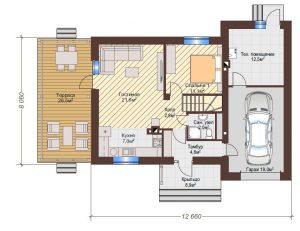 Проект дома КД - 136-1_Планировка 1 этаж