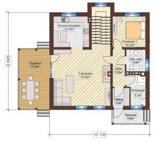 Проект дома КД - 158_Планировка 1 этаж
