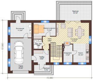 Проект дома КД - 171_План 1 этажа