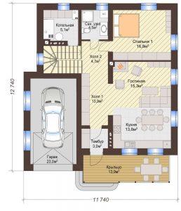 Проект дома КД - 178_Планировка 1 этаж