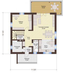 Проект дома КД - 182_Планировка 1 этаж