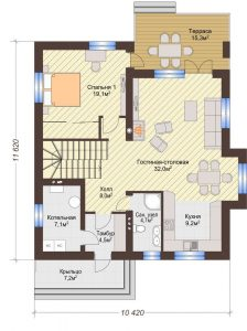 Проект дома КД - 188_План 1 этажа