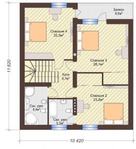 Проект дома КД - 188_План 2 этажа