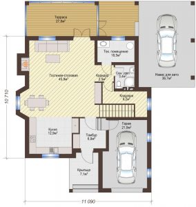 Проект дома КД - 206_Планировка 1 этажа