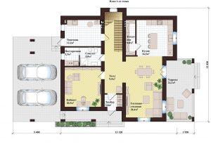 Проект дома КД - 250_1_Планировка 1 этажа