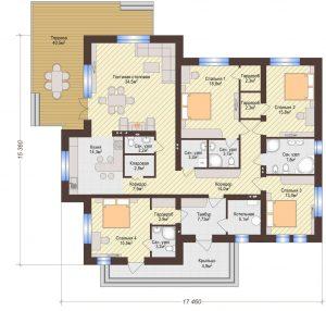 Проект дома КД - 191_Планировка 1 этаж
