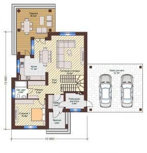 Проект дома КД - 204_Планировка 1 этаж