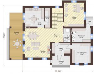 Проект дома КД - 306_Планировка 1 этаж