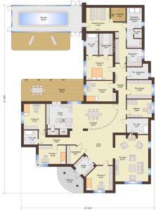Проект дома КД - 352_Планировка 1 этаж (одноэтажный дом)