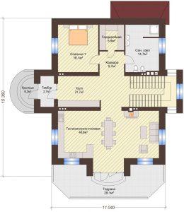 Проект дома КД - 375_Планировка 1 этаж